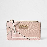 Pink panelled slim foldout purse