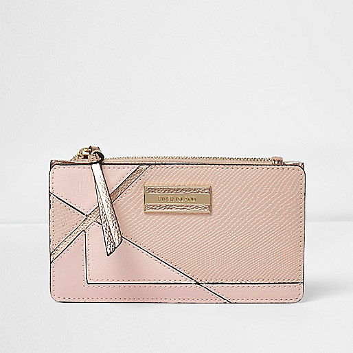 Pink panelled slim foldout purse