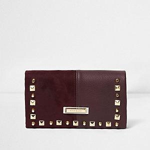 Donkerrode uitvouwbare portemonnee met studs