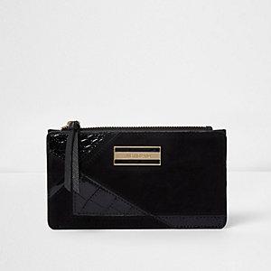 Zwarte smalle portemonnee met panelen
