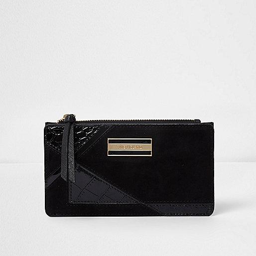 Black panelled slim purse