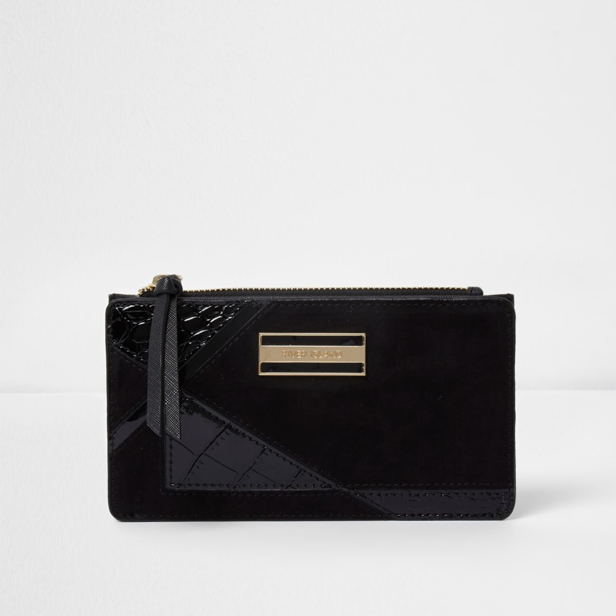 Black panelled slim purse