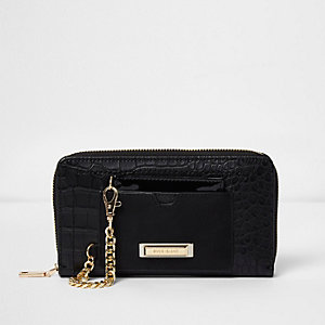 Black croc embossed zip around purse