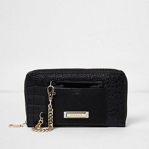 Zwarte portemonnee met rits rondom en krokodillenprint