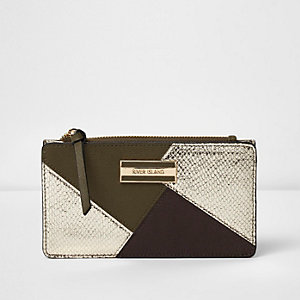 Dark green panelled slim purse