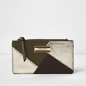 Donkergroene smalle portemonnee met panelen