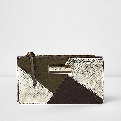 Dark green panelled slim purse