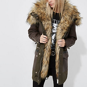 Petite khaki green faux fur trim hooded parka