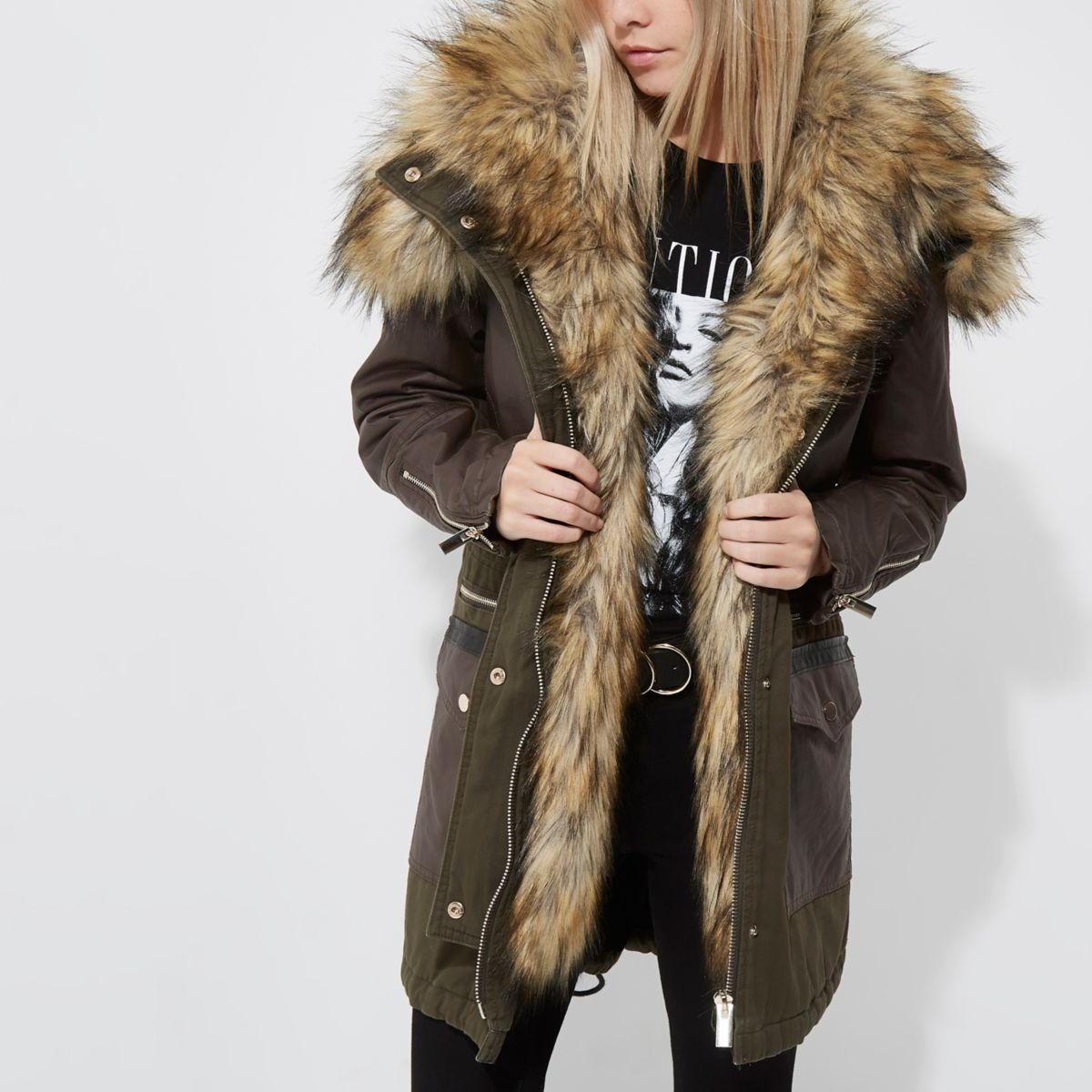 Petite khaki green faux fur trim hooded parka - Jackets - Coats ...