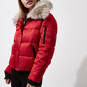 Petite red faux fur collar puffer jacket