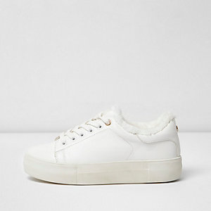 White fur trim flatform sneakers