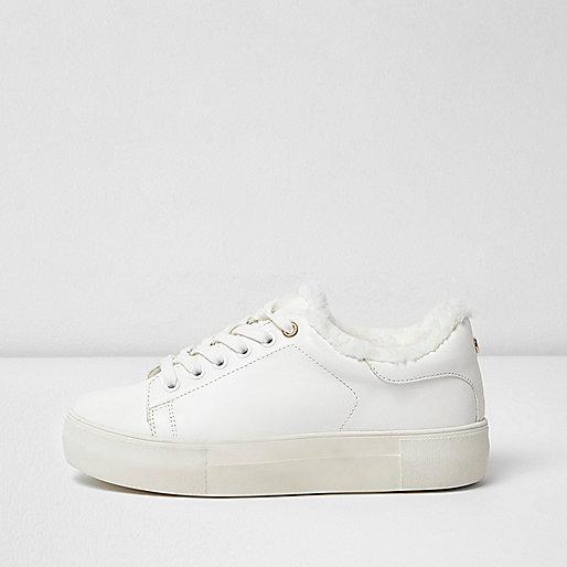 White fur trim flatform sneakers