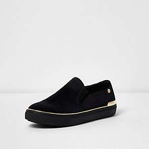 Black wide fit gold tone slip on plimsolls