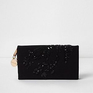 Black gem embellished foldout purse