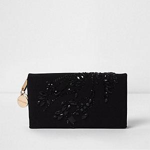 Zwarte portemonnee met siersteentjes