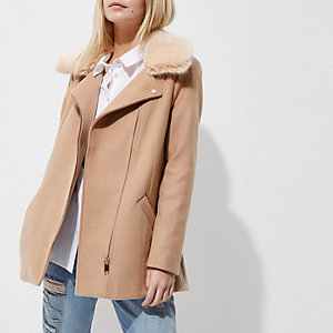 Petite camel faux fur trim biker collar coat