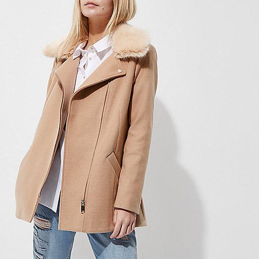 Petite camel faux fur trim biker collar coat
