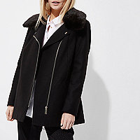 Petite black fur trim biker collar coat