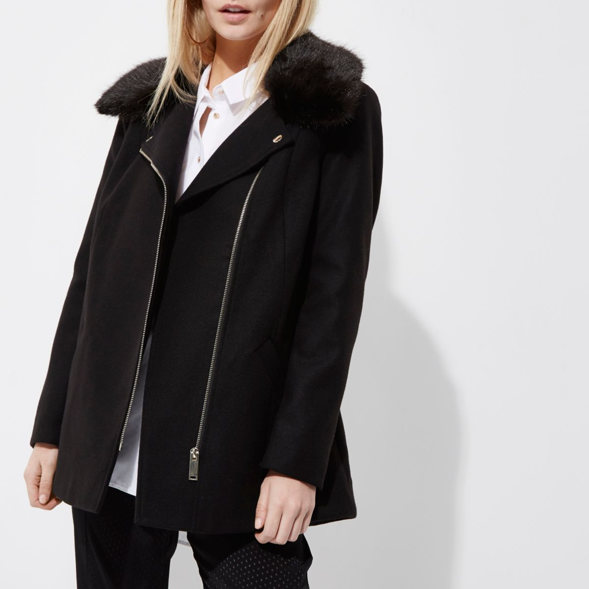 Petite black faux fur trim biker collar coat