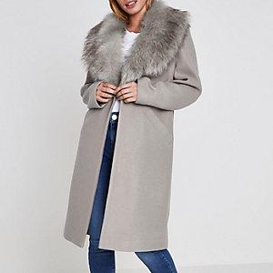 Petite – Manteau gris à col en fausse fourrure
