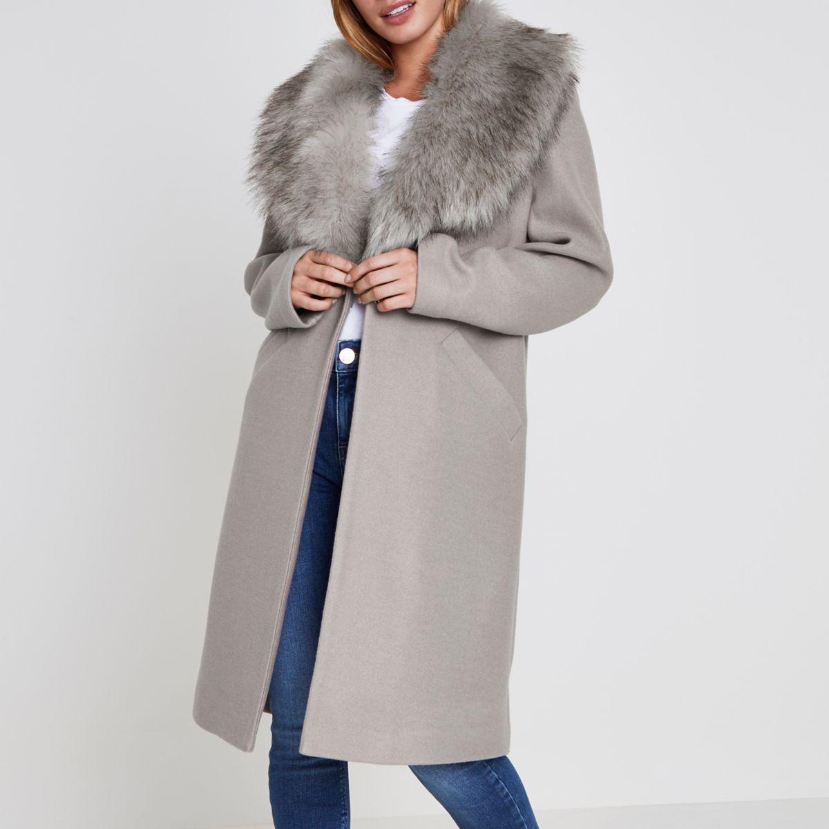 Petite grey faux fur collar coat