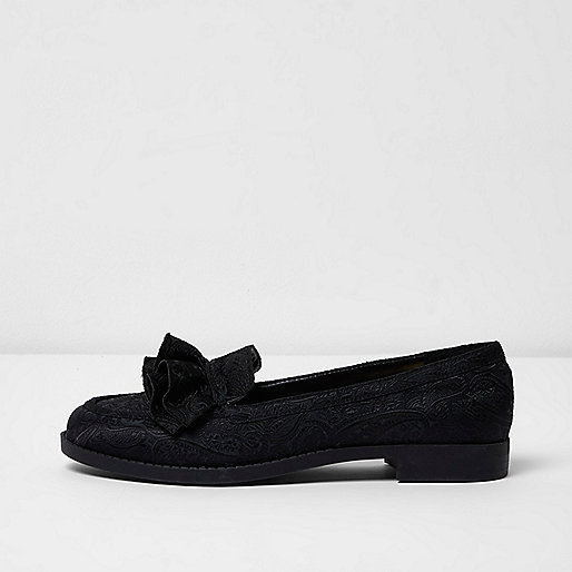 Zwarte jacquard loafers met ruches