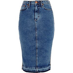 Mid blue acid wash denim pencil skirt