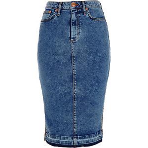 Jupe crayon en jean délavage bleu moyen