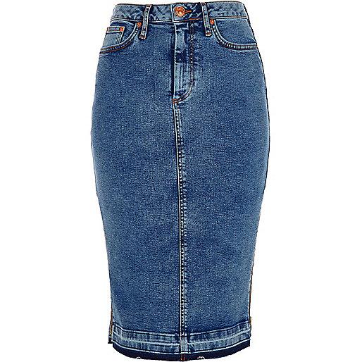 mid blue acid wash denim pencil skirt skirts sale