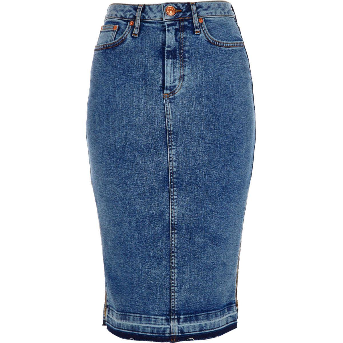 Mid blue acid wash denim pencil skirt