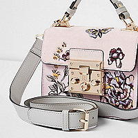 Pink embroidered mini lock front satchel bag