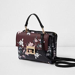 Dark red floral print lock front mini bag