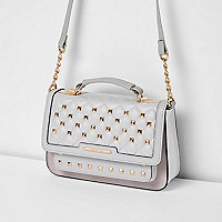 Grey studded mini cross body chain bag