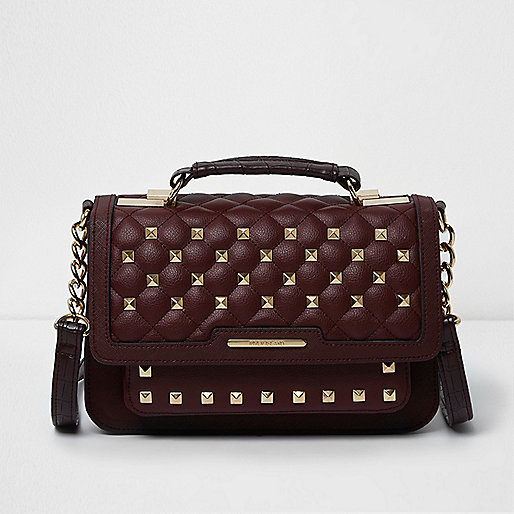 Dark red quilted studded mini satchel bag