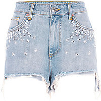 Blue embellished high waisted denim shorts