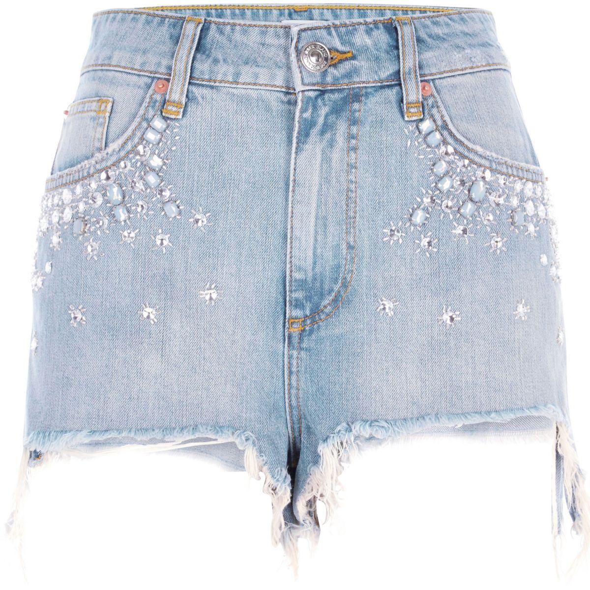 Blue embellished high waisted denim shorts
