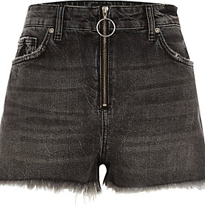 Black zip front high waisted denim shorts