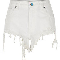 White ripped high side denim shorts