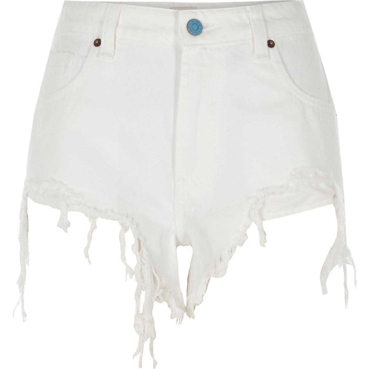White ripped high side denim shorts