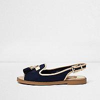 Navy peep toe slingback loafers