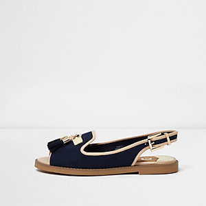 Navy peep toe slingback loafers