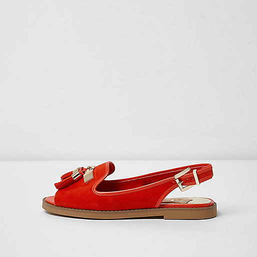 Red peep toe slingback loafers