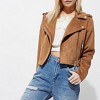 Petite tan brown faux suede biker jacket