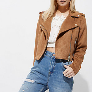 Petite tan brown faux suede biker jacket