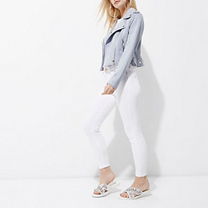 Petite light blue faux suede biker jacket