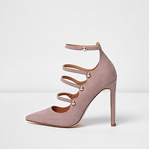 Light purple strappy pumps