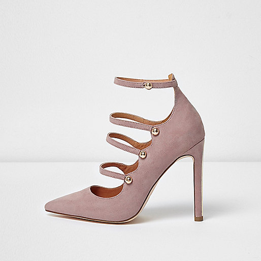 Light purple strappy court shoes