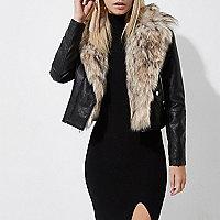 Petite black faux fur collar biker jacket