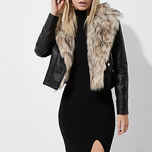 Petite black faux fur collar biker jacket