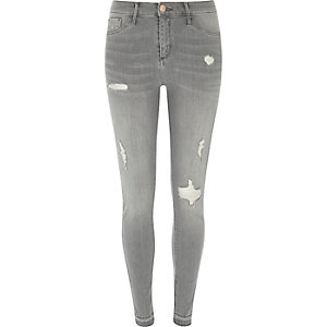 Molly – Graue Skinny Fit Jeggings im Used-Look